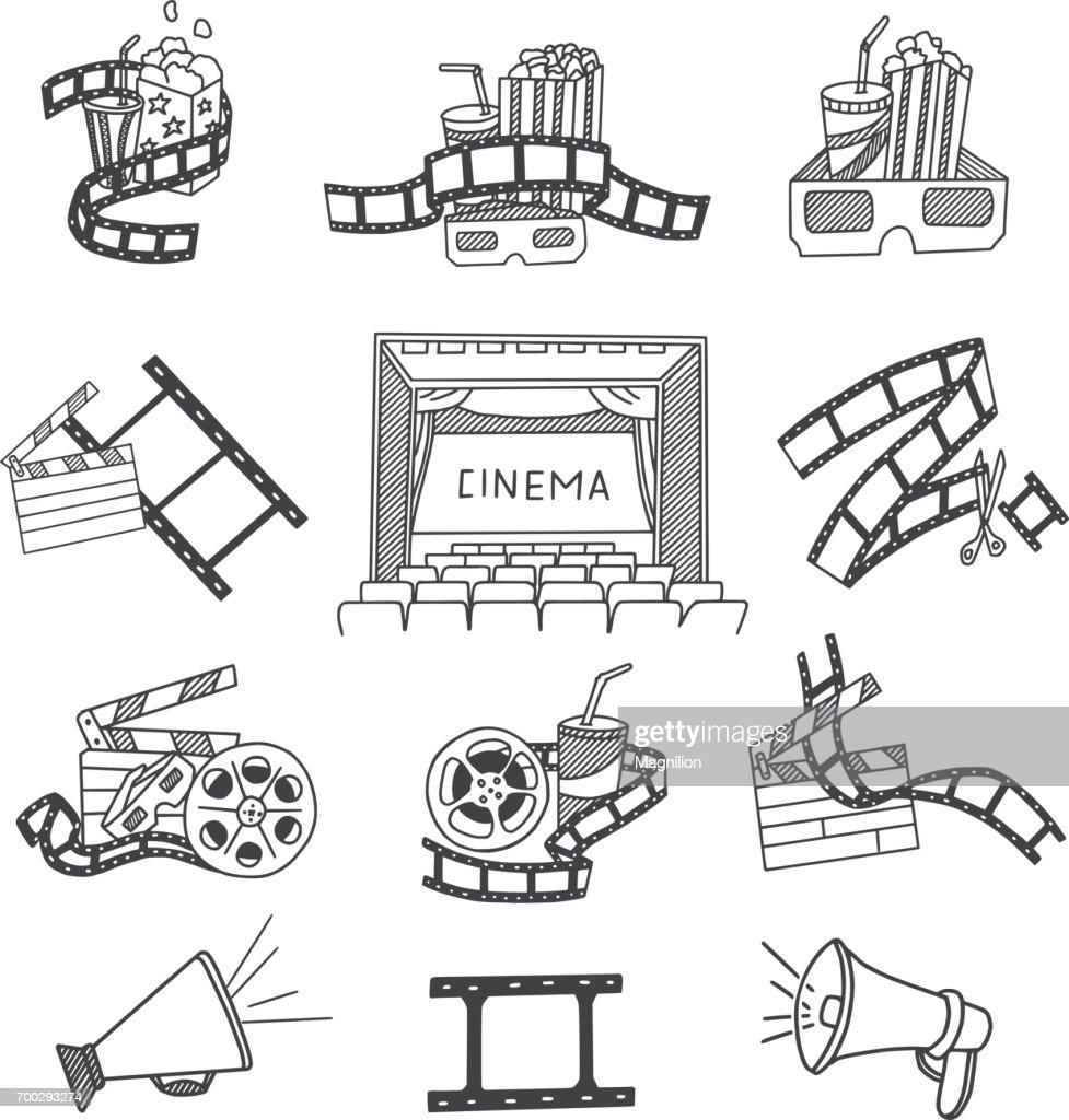 Cinema Doodles Set : stock illustration