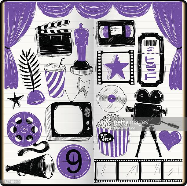 cinema doodles - dvd stock illustrations