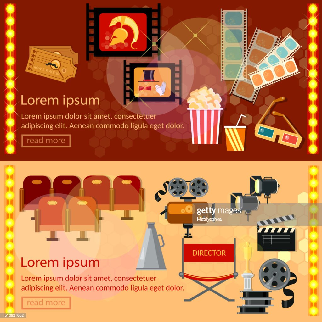 Cinema festival banner movie design elements