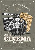 Cinema festival retro poster, film and tickets