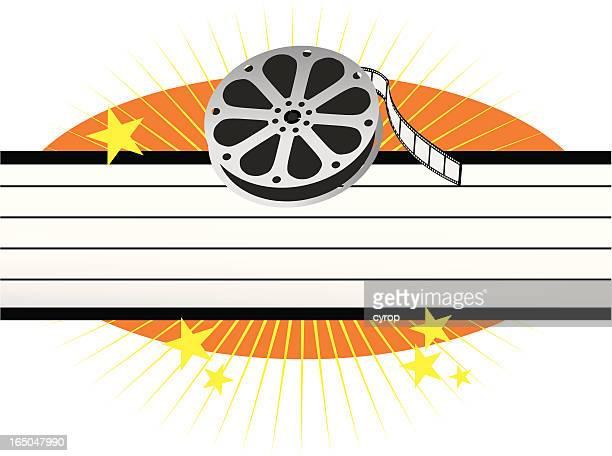 ilustraciones, imágenes clip art, dibujos animados e iconos de stock de rollo de película de cine y el blanco de la carpa con estrellas - rollo de cine