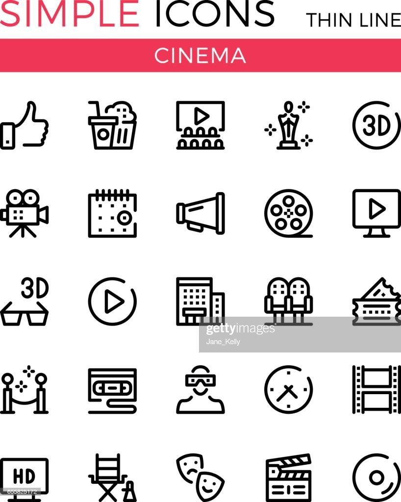 Cinema, filmmaking, cinematography, film production vector thin line icons set. 32x32 px. Modern line graphic design for websites, web design, etc. Pixel perfect vector outline icons set