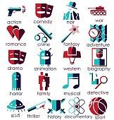 Cinema genres theme.flat icons