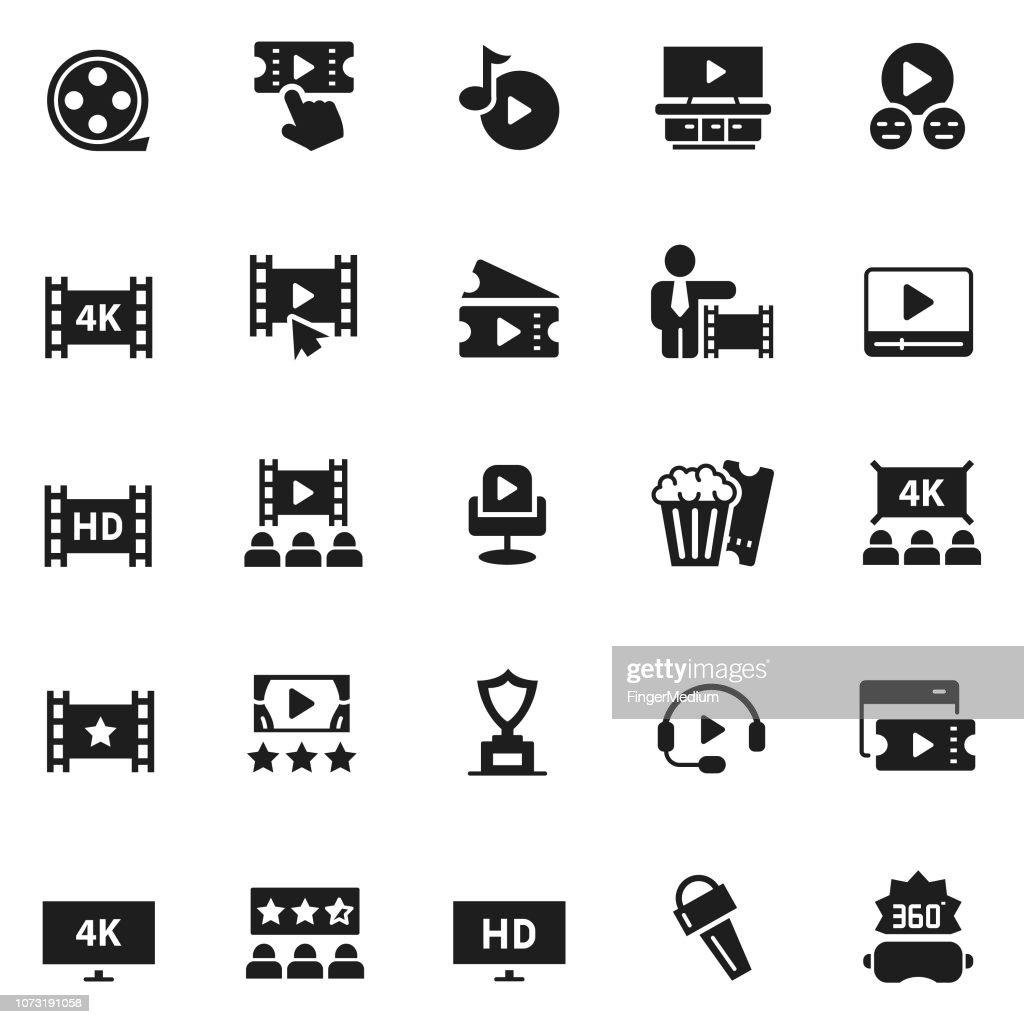 Cinema icon set : stock illustration