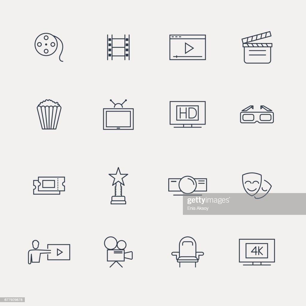 Cinema Icons - Line Series : stock illustration
