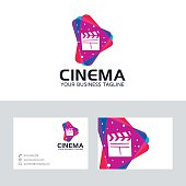 Cinema media vector logo with business card template