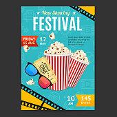Cinema Movie Festival Placard Banner Card. Vector