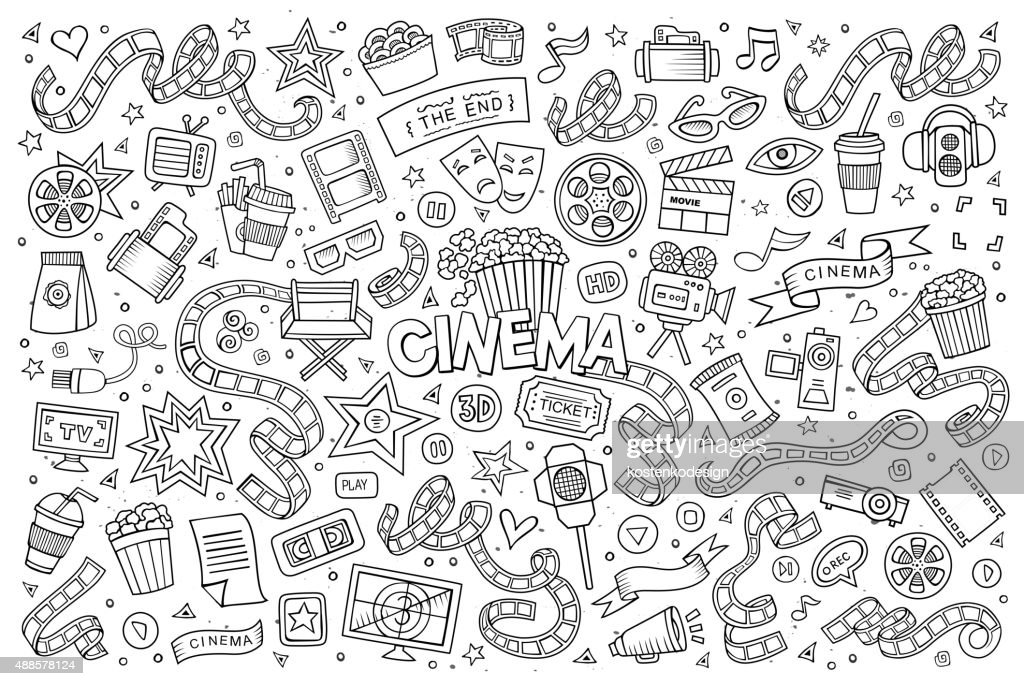 Cinema, movie, film doodles sketchy vector symbols