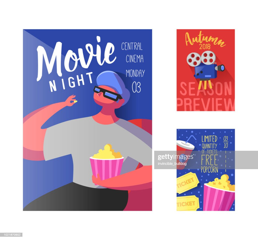 Cinema Movie Poster, Banner, Placard Template. Film Reel, Tickets, Pop Corn and Flat Character. Vector illustration