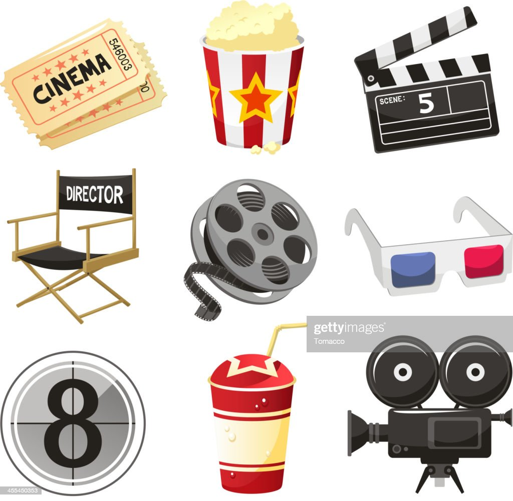 Cinema movie theater objects icon set