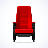 Cinema movie theater red comfortable chair