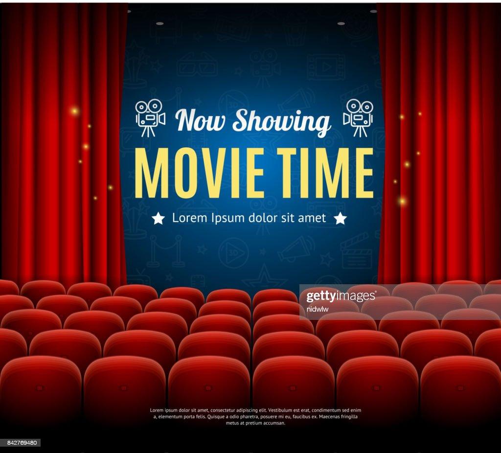 Cinema Movie Time Background Card. Vector