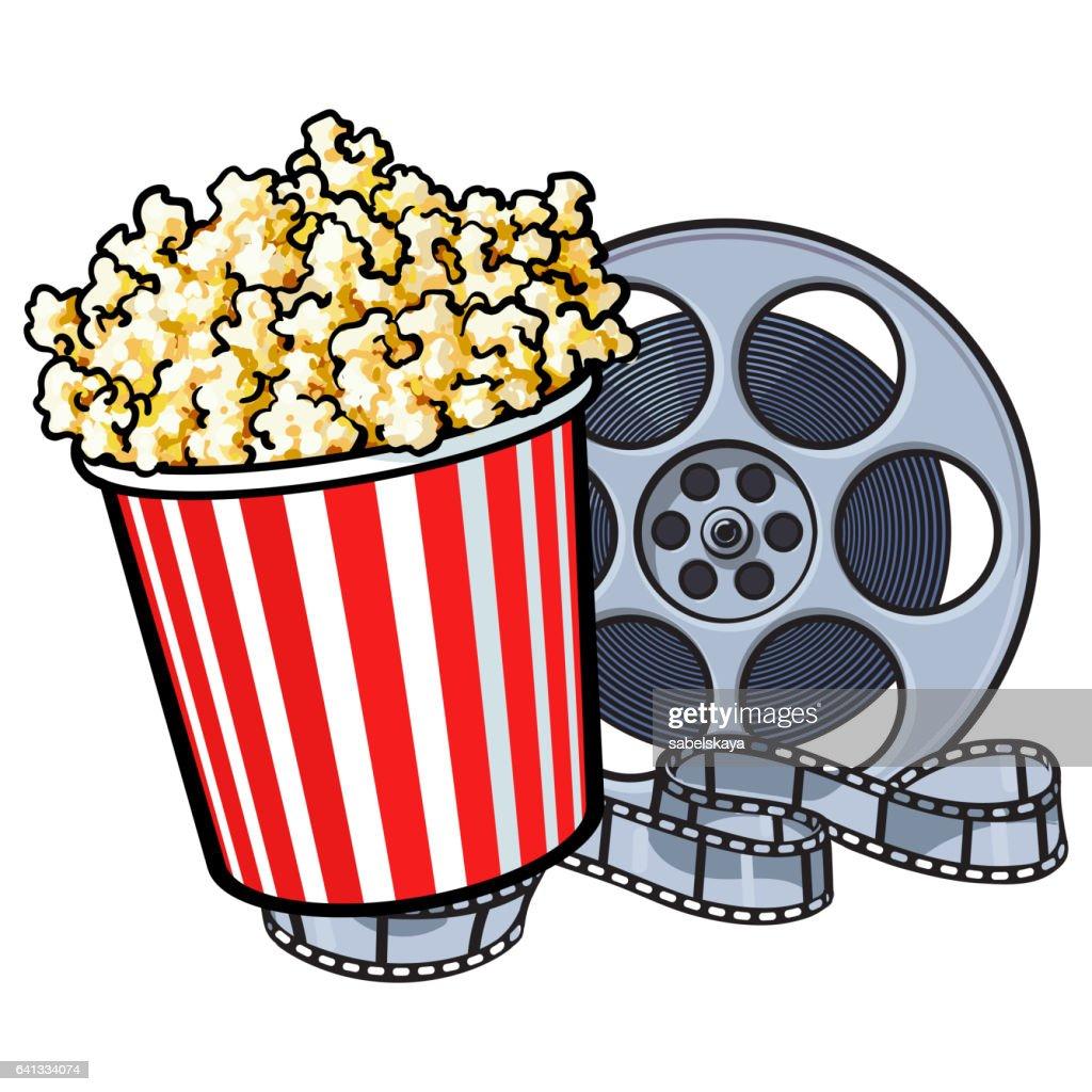 Cinema objects - popcorn bucket and retro style film reel