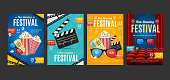 Cinema Placard Set with Realistic 3d Detailed Element. Vector