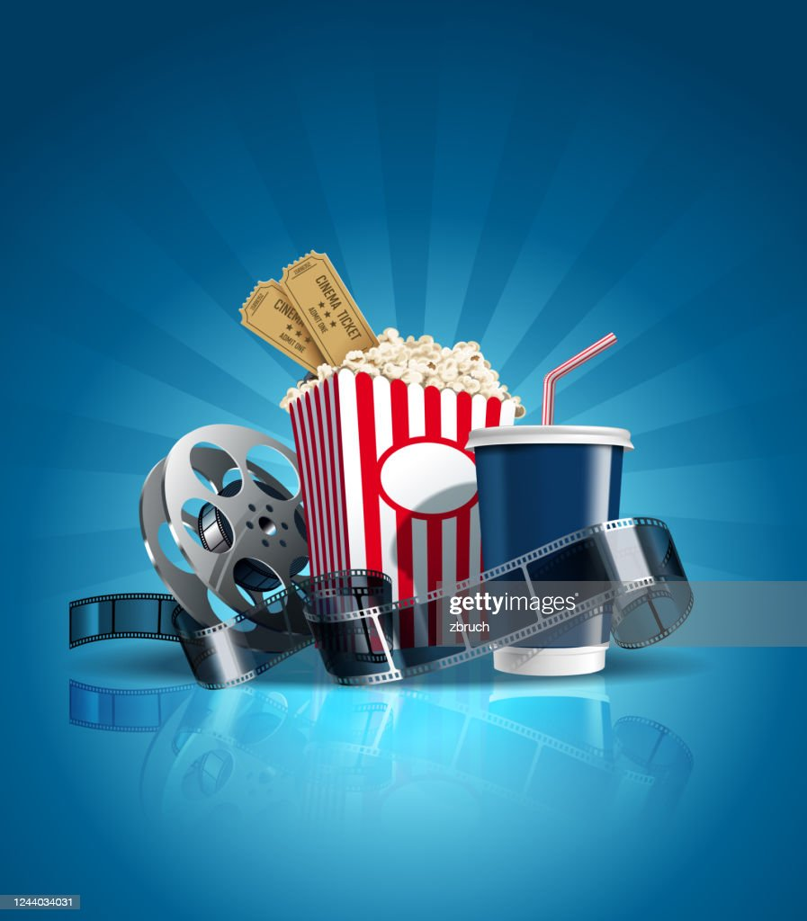 Cinema poster with cola, film-strip, and clapper. Vector. : Stock Illustration