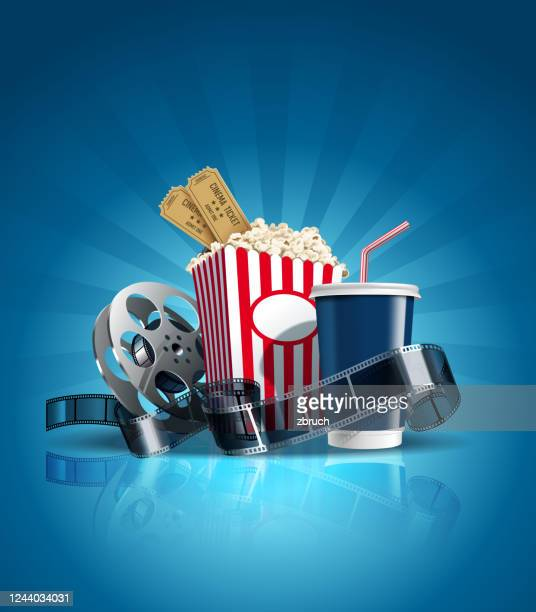 illustrazioni stock, clip art, cartoni animati e icone di tendenza di poster cinematografico con cola, pellicola e clapper. vettore. - industria cinematografica