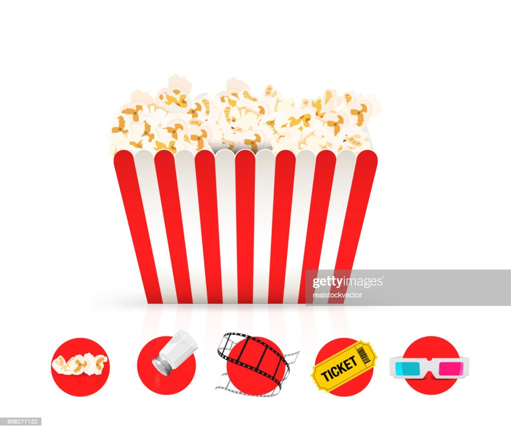Cinema red and white popcorn bucket.