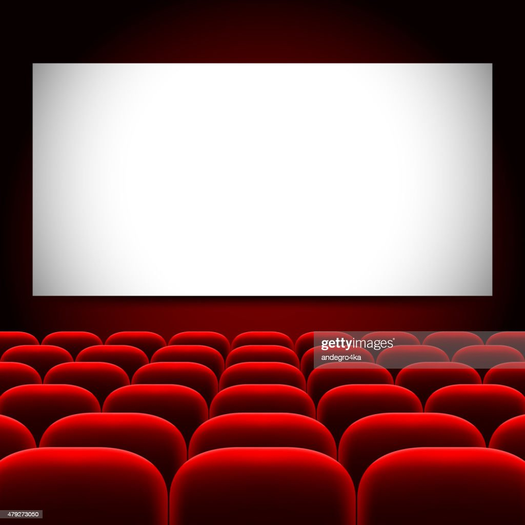 Cinema screen and red seats vector background