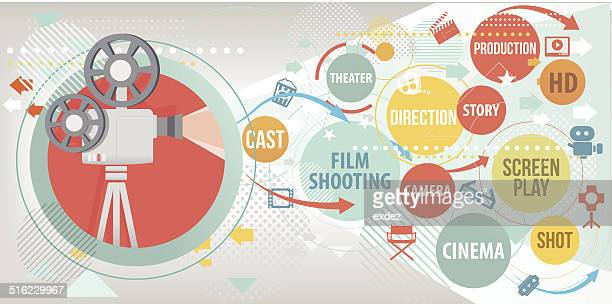 cinema study projection - video camera stock illustrations, clip art, cartoons, & icons