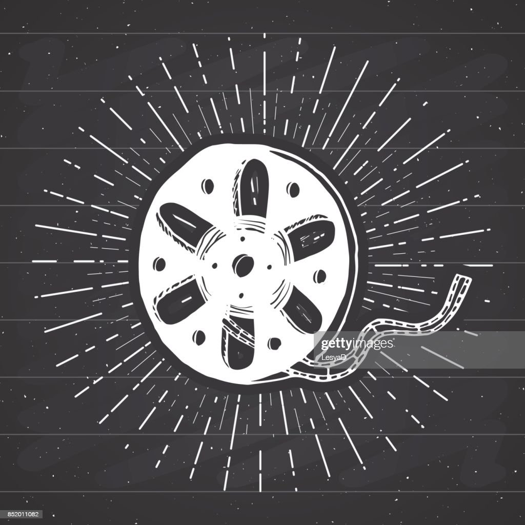Cinema tape and film reel vintage label, Hand drawn sketch, grunge textured retro badge, typography design t-shirt print, vector illustration on chalkboard background