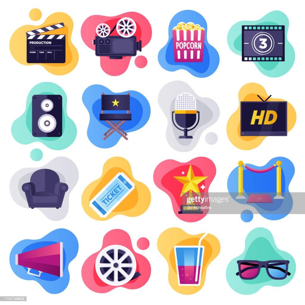映画、テレビ、メディア業界フラットフロースタイルベクトルアイコンセット : ストックイラストレーション