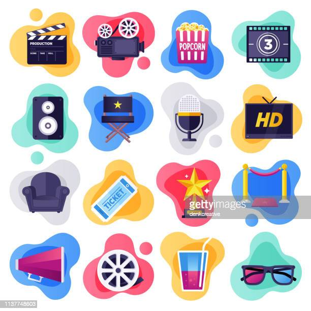 illustrazioni stock, clip art, cartoni animati e icone di tendenza di cinema, television & media industry flat flow style vector icon set - industria cinematografica