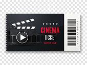 Cinema ticket background. Vector movie poster illustration