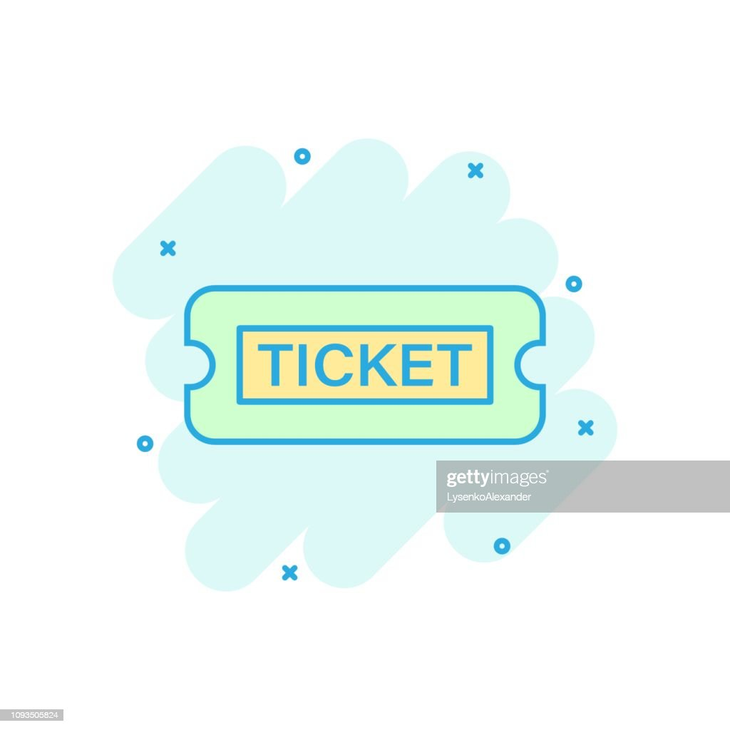 Cinema ticket icon in comic style. Admit one coupon entrance vector cartoon illustration pictogram. Ticket business concept splash effect.