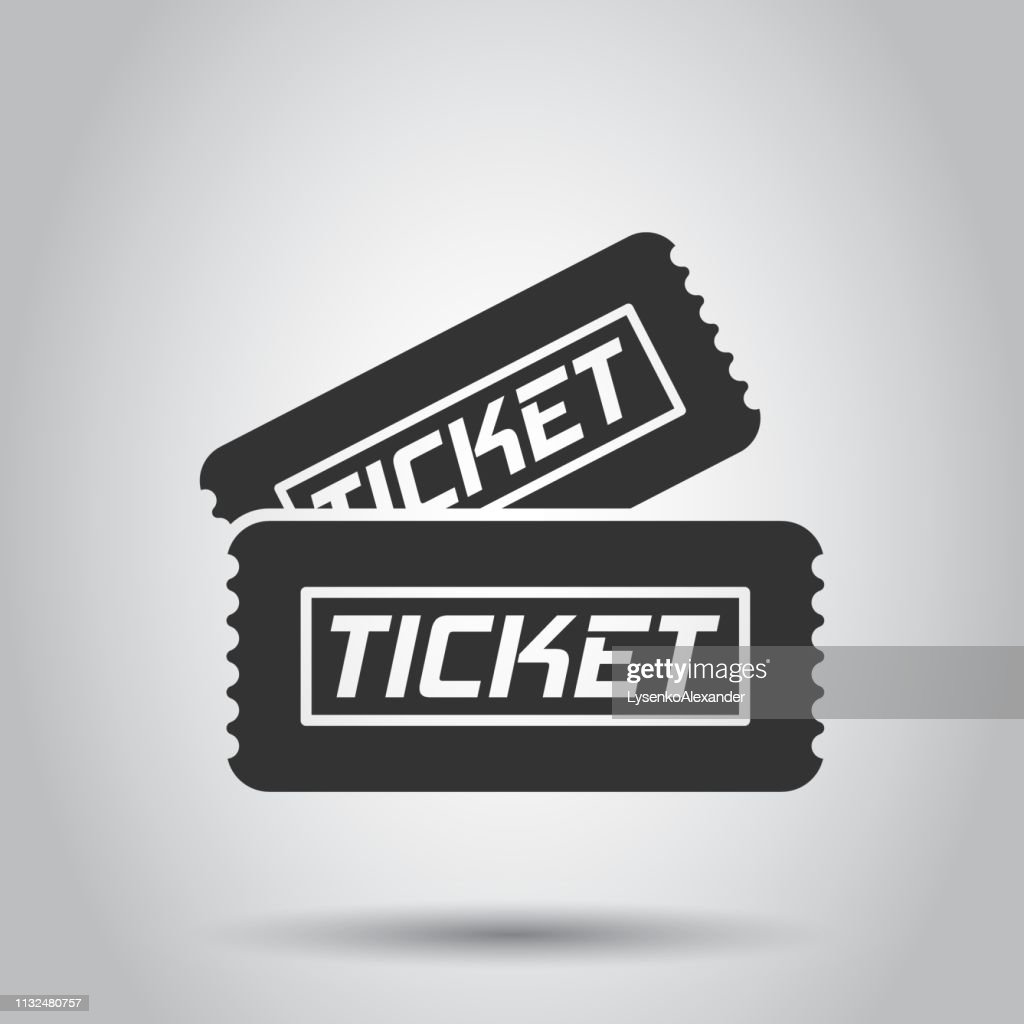 Cinema ticket icon in flat style. Admit one coupon entrance vector illustration on white background. Ticket business concept.