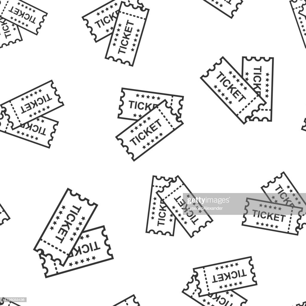 Cinema ticket icon seamless pattern background. Admit one coupon entrance vector illustration. Ticket symbol pattern.