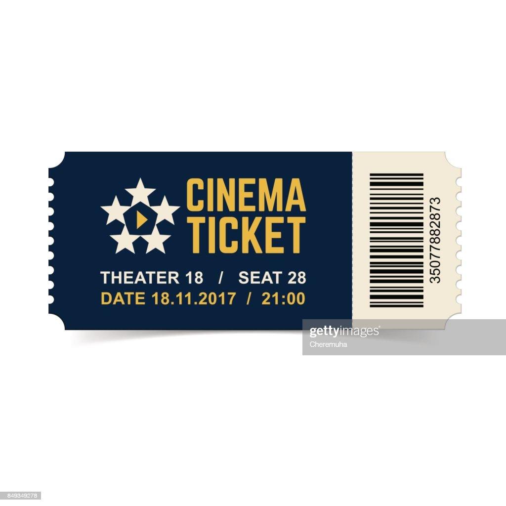 Cinema ticket isolated on white background.