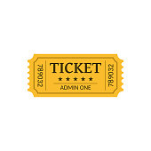 Cinema ticket, isolated on white. Retro style