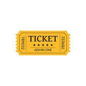 Cinema ticket, isolated on white. Retro style