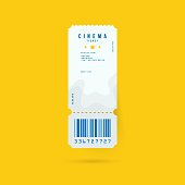 Cinema ticket realistic isolated on yellow background