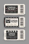 Cinema ticket set isolated on gray background. Vector illustration.