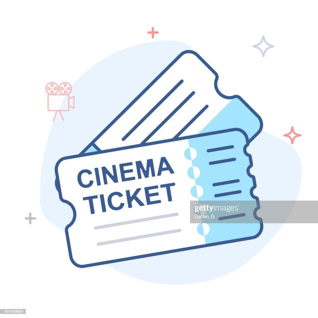 Cinema Ticket vector line icon