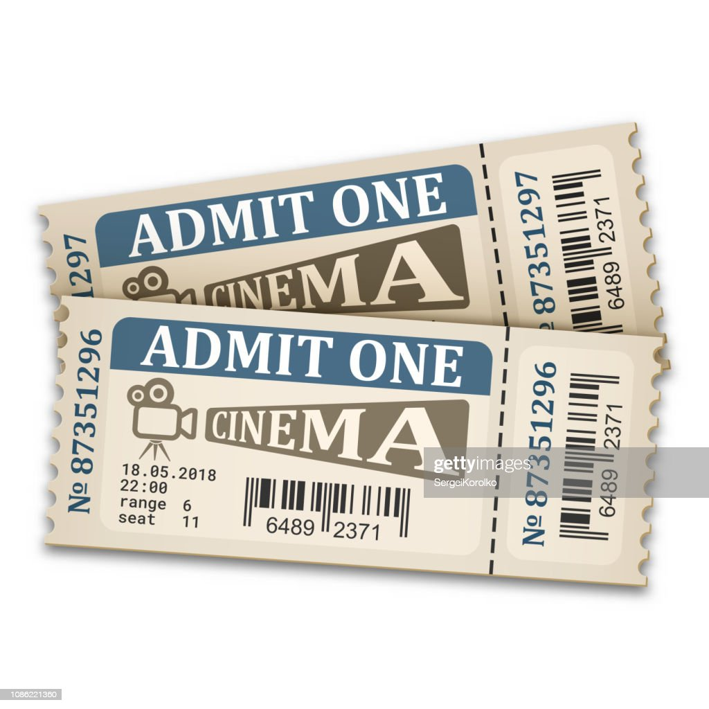 Cinema tickets in retro style. Admission tickets isolated on white background. Vector illustration