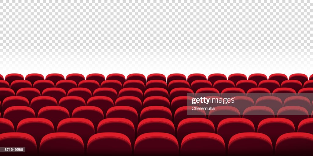 Cinema vector seats on transparent background. Сinema room, hall