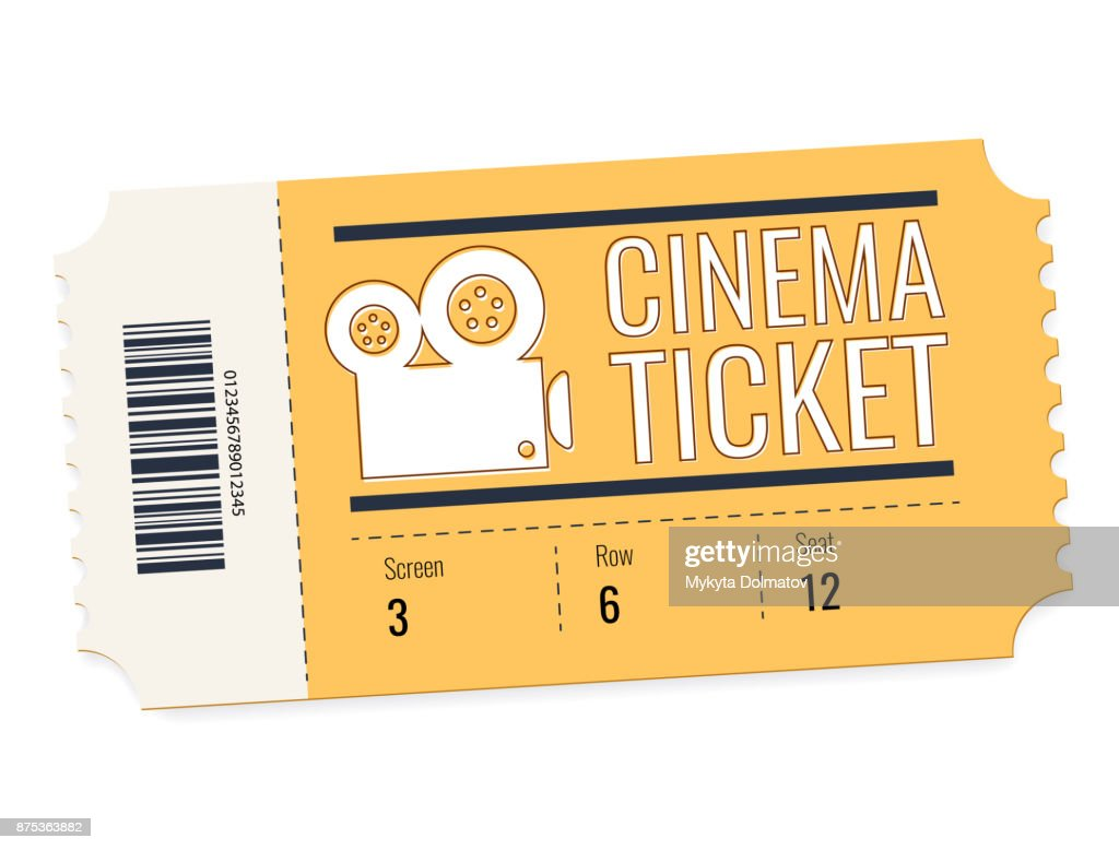 cinema vector ticket isolated on white background. Realistic front view illustration. Cinema Ticket Card