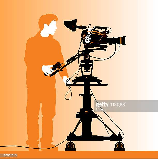 cinematographer silhouette - camera operator stock illustrations, clip art, cartoons, & icons