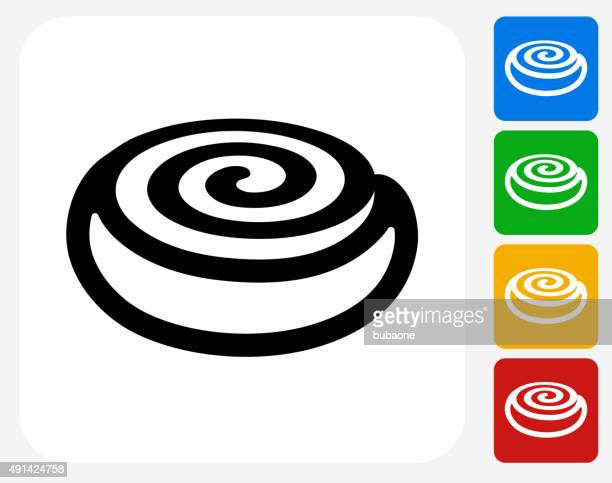 cinnamon bun icon flat graphic design - sweet bun stock illustrations, clip art, cartoons, & icons