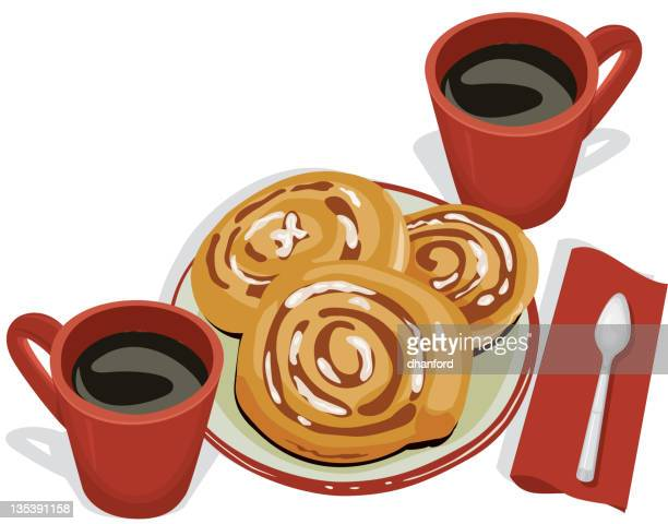 cinnamon buns and coffee, breakfast - bun bread stock illustrations, clip art, cartoons, & icons