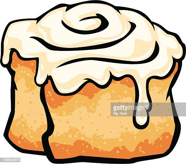 cinnamon roll with frosting - sweet bun stock illustrations, clip art, cartoons, & icons