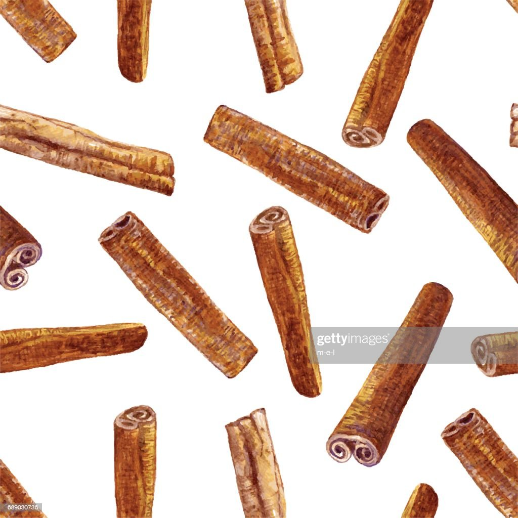 Cinnamon watercolor illustration isolated on white background, Hand drawn seamless pattern, Design food, Organic fresh spice ingredient for healthy market, restaurant menu, kitchen aromatherapy, paper