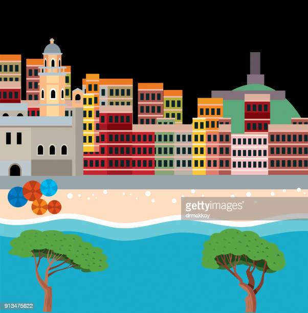 cinque terre - southern europe stock illustrations