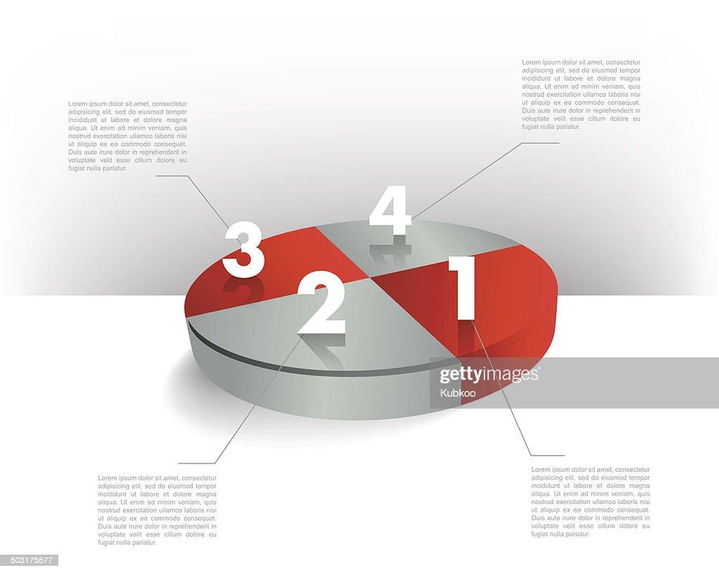 Circle 3D pie diagram for infographics.