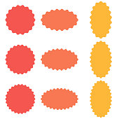 Circle and oval badge sticker, starburst speech bubbles, vector sticker wavy edges, badge template