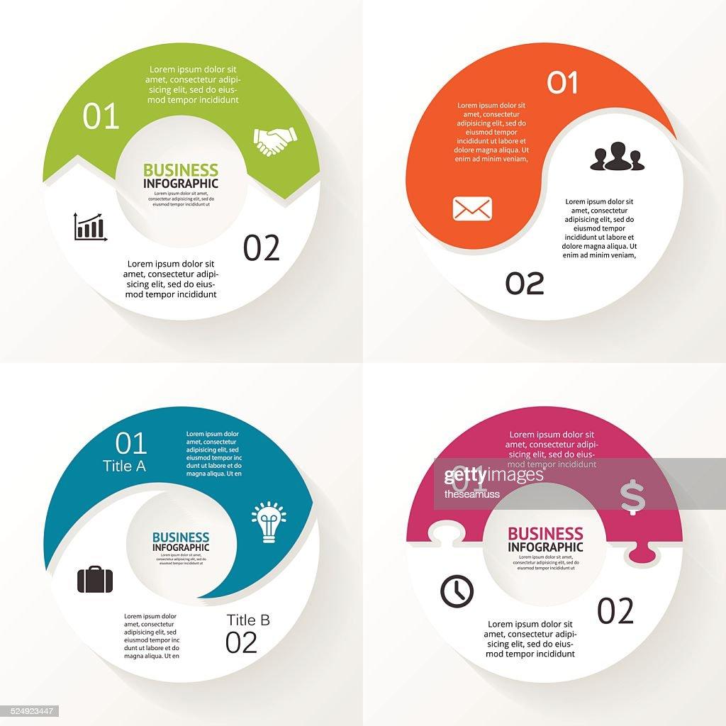Circle arrows puzzle infographic, diagram, steps, 2 options