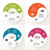 Circle arrows puzzle infographic, diagram, steps, 2 options