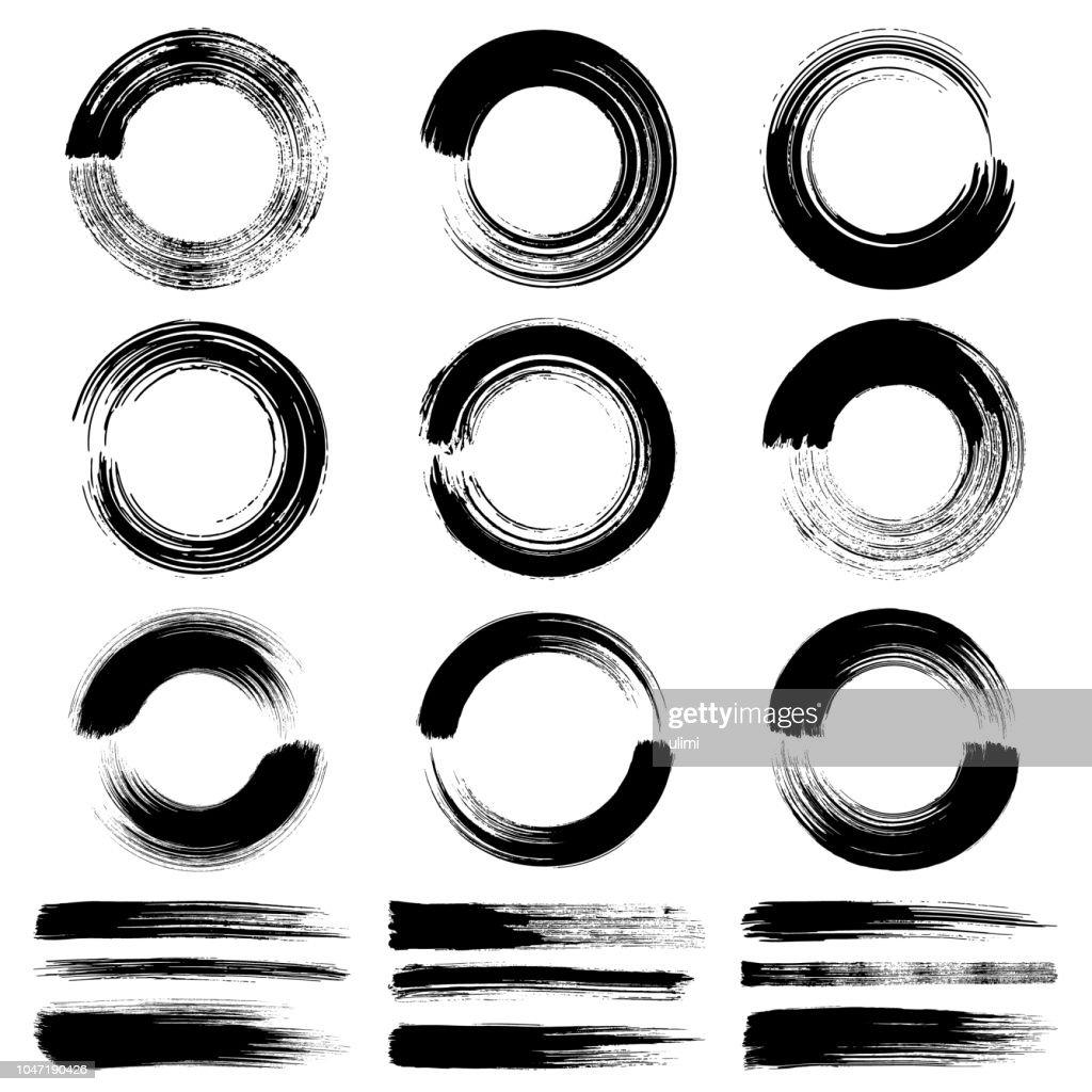 Pennellate a cerchio, elementi di design grunge : Illustrazione stock